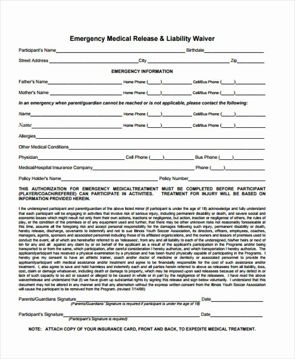 Emergency Room Release form Inspirational 21 Emergency Release form Example