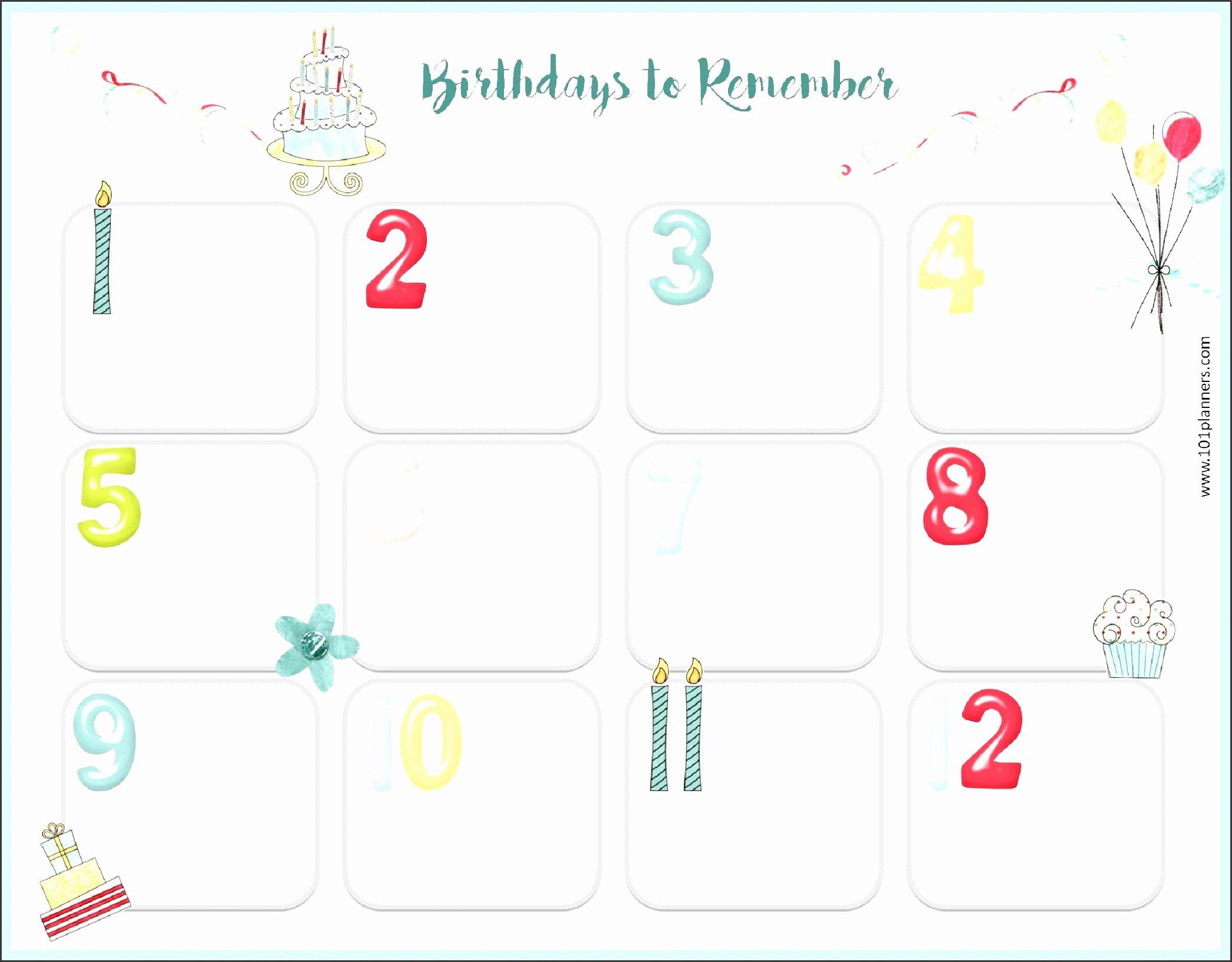 Employee Birthday List Template Elegant Birthday List Template Wish Word Editable Excel Guest Free