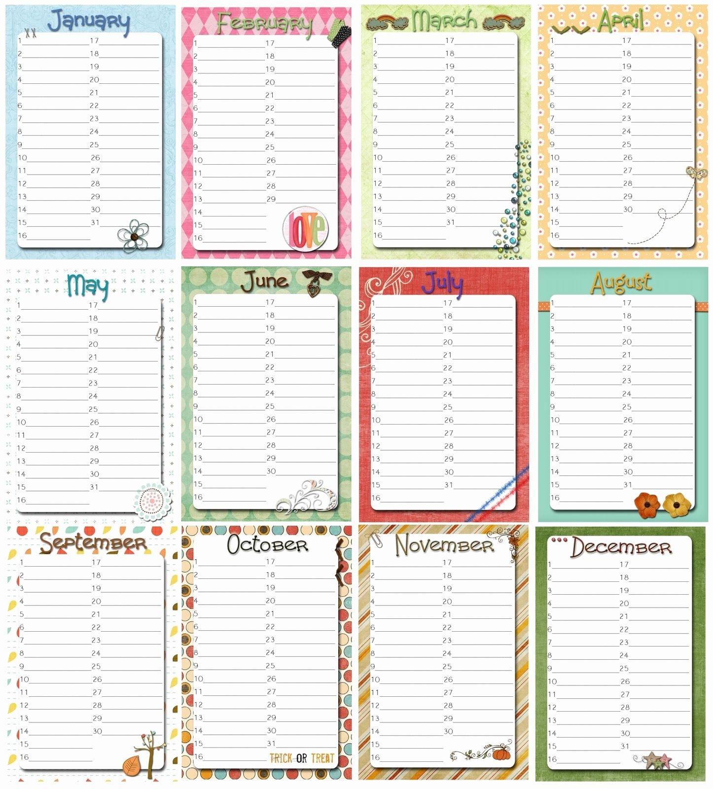 Employee Birthday List Template Inspirational Family Birthday Calendar Printable Free