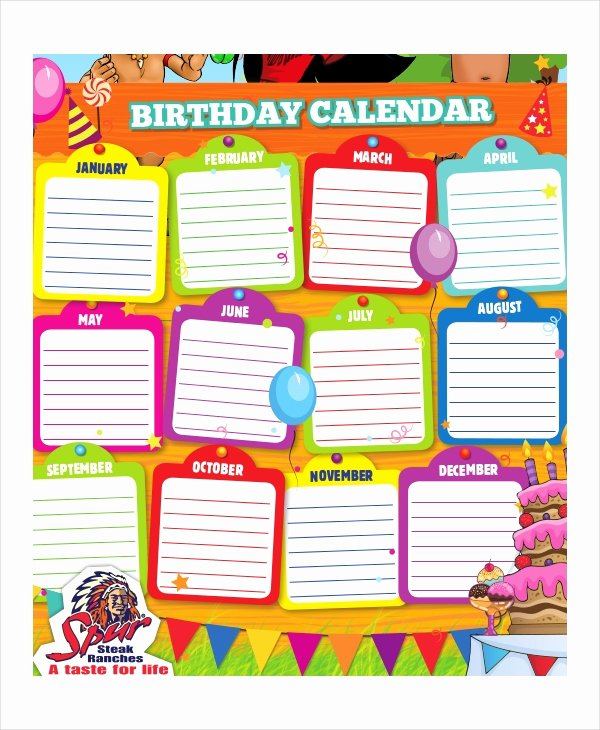 printable birthday calendar templates