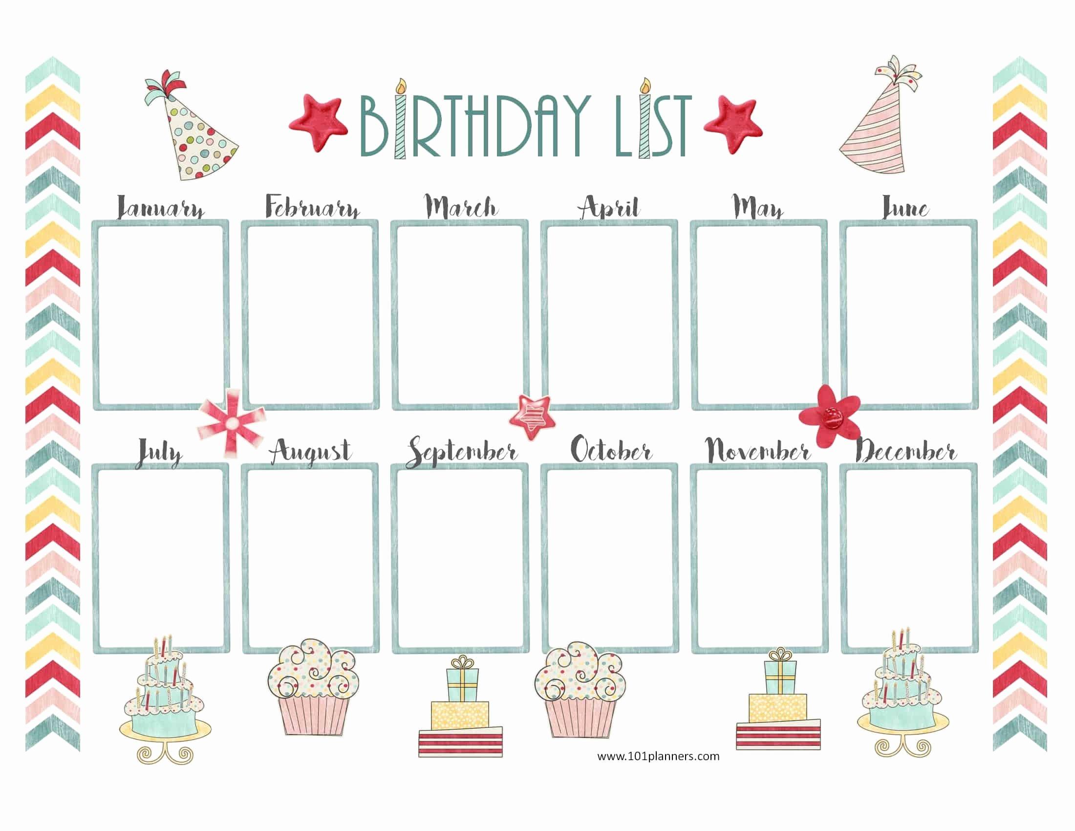 Employee Birthday List Template Luxury Free Birthday Calendar