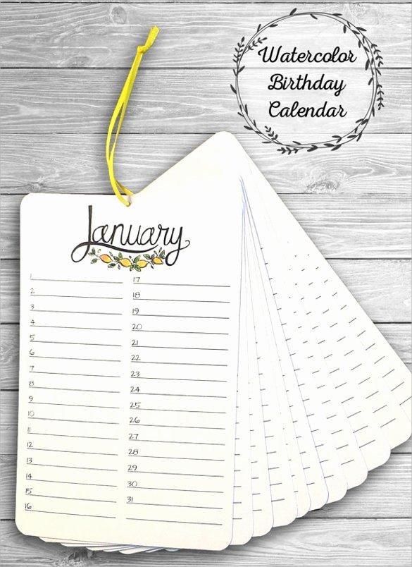 Employee Birthday List Template Unique 40 Calendar Templates