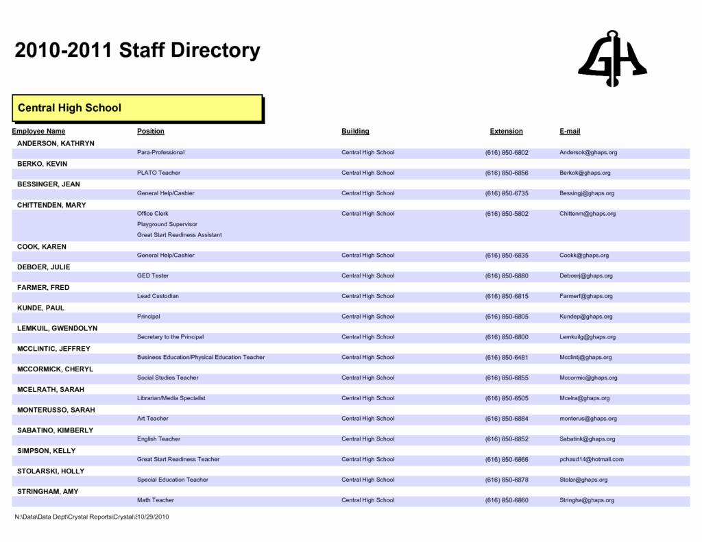 Employee Directory Template Inspirational 28 Of Staff Phone List Template
