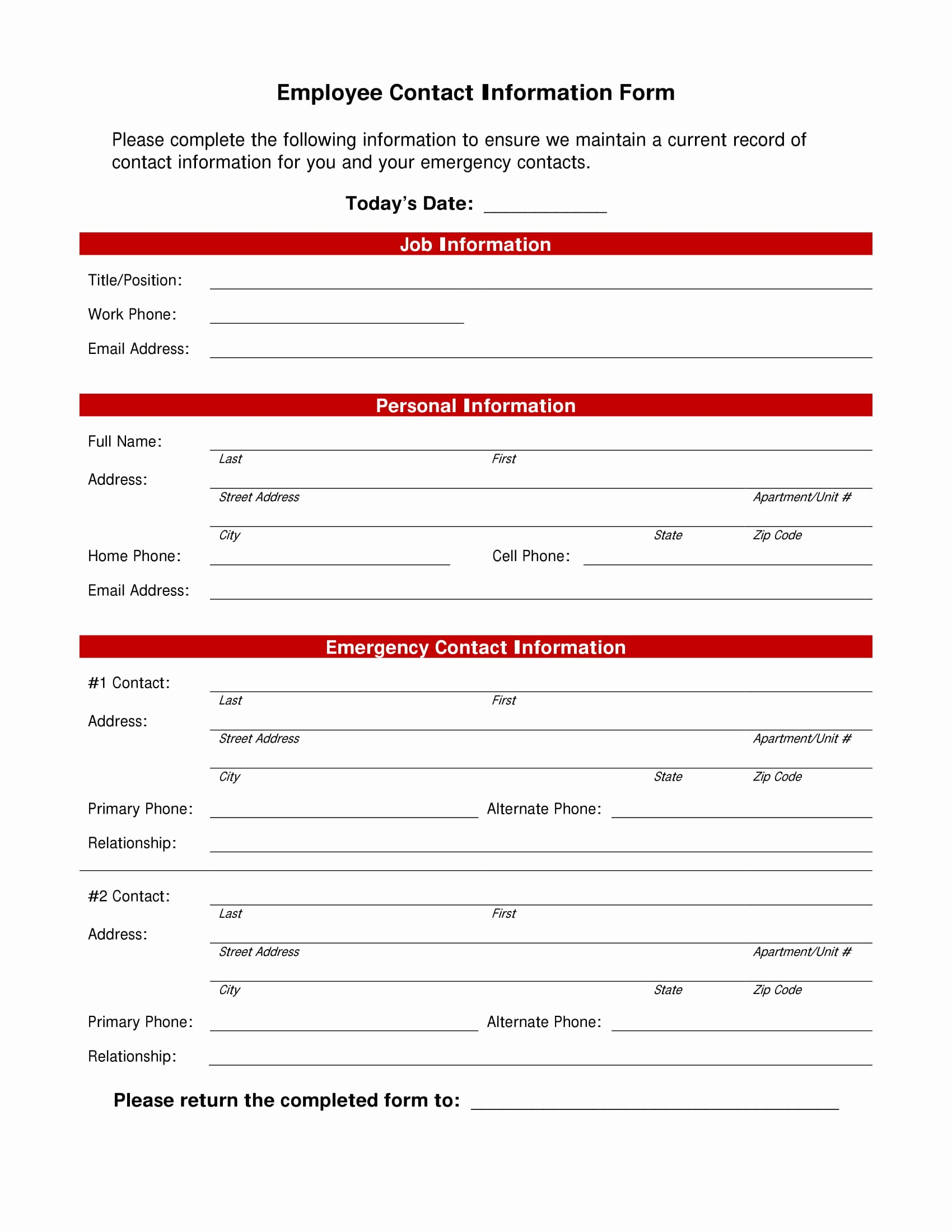 Employee Directory Template Lovely 10 Employee Information form Examples Pdf