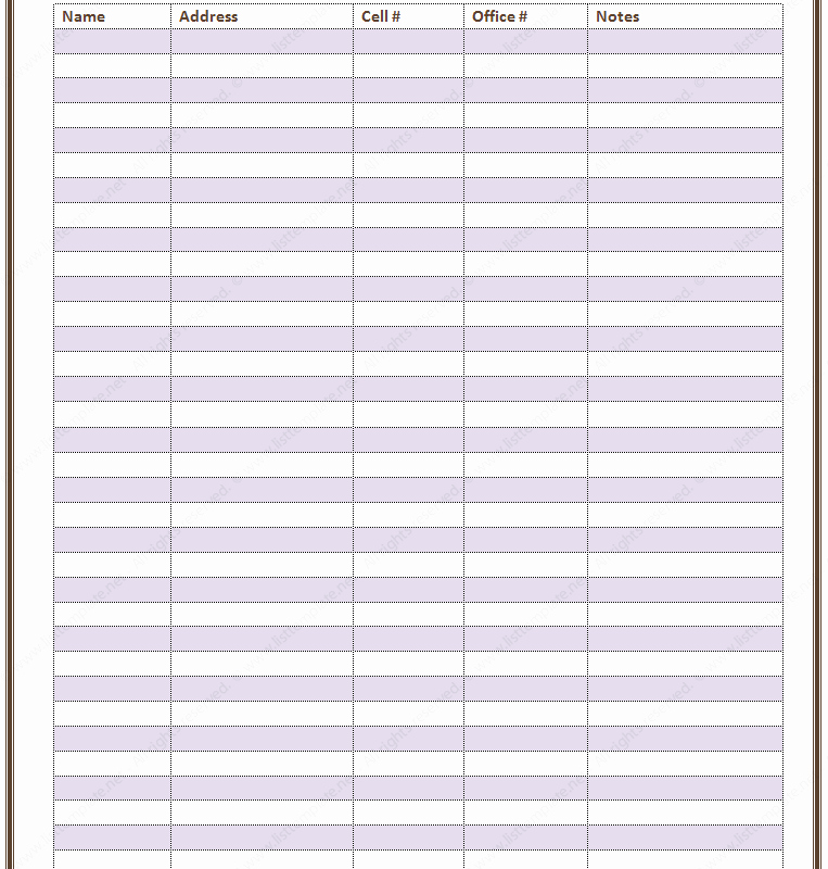Employee Directory Template New Free Printable Contact List Templates