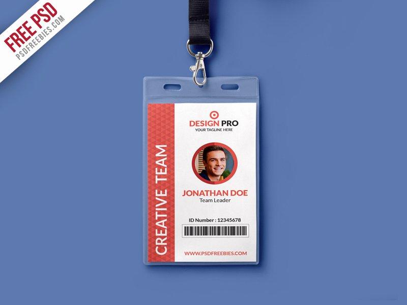 Free PSD fice Identity Card Template PSD