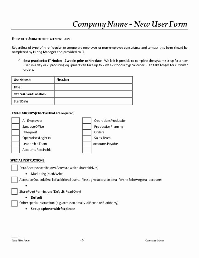Employee Key Agreement form Best Of New Hire It Request form