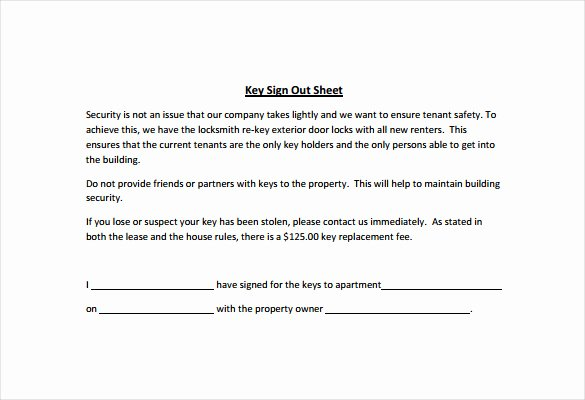 Employee Key Agreement form Unique Sign Out Sheet Template 14 Free Word Pdf Documents