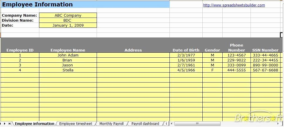 Employee Payroll Ledger Template Awesome Employee Information Payroll Ledger Template Spreadsheet