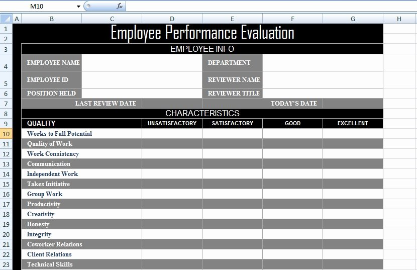 employee performance evaluation form xls