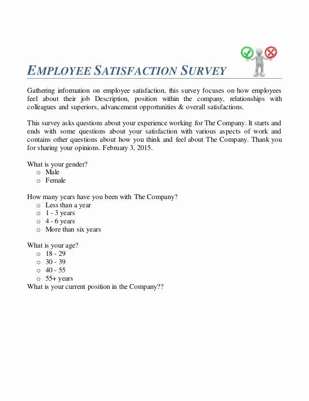 Employee Satisfaction Survey Questionnaire Doc Awesome Employee Satisfaction Survey Questionnaire