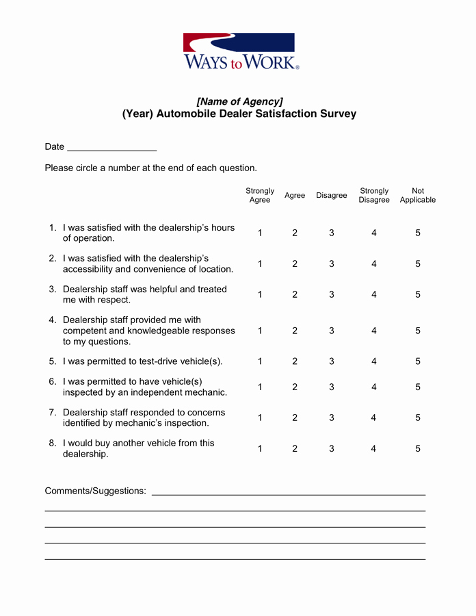 Employee Satisfaction Survey Questionnaire Doc Fresh 26 Of Auto Shop New Customer Questionnaire Template