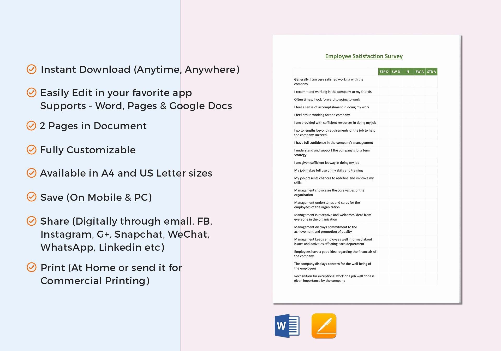 Employee Satisfaction Survey Questionnaire Doc Fresh Employee Satisfaction Survey Template In Word Google Docs