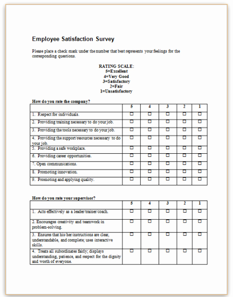Employee Satisfaction Survey Questionnaire Doc Fresh form Specifications