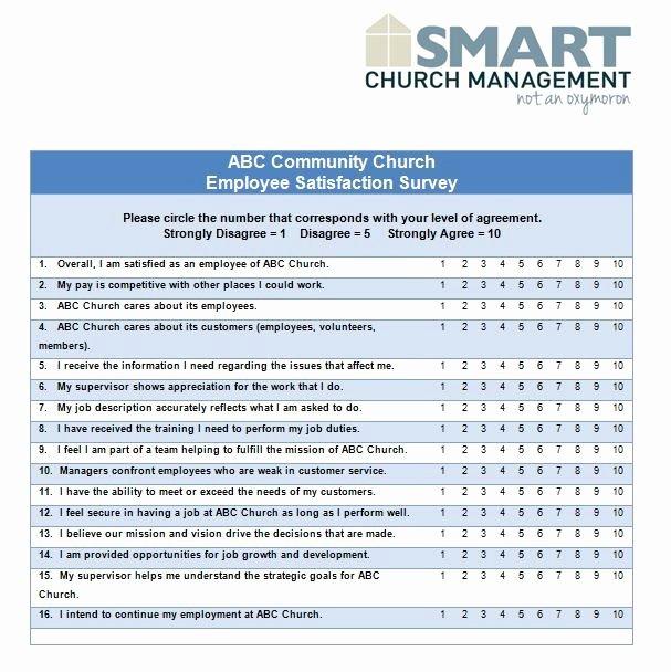 Employee Satisfaction Survey Questionnaire Doc Luxury Church forms and Job Descriptions Hr