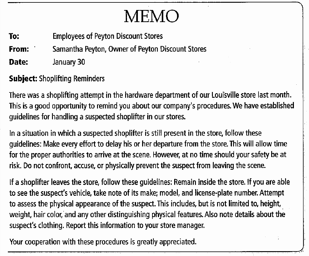 Employee theft Policy Sample Lovely 187 188 Employee Memo Shoplifting