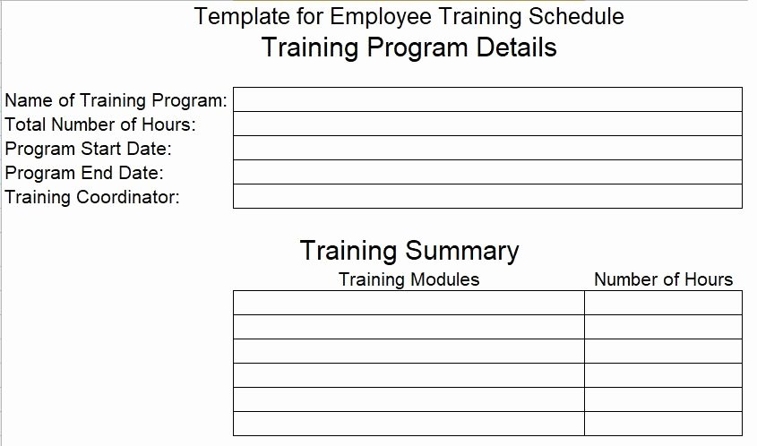 Employee Training Schedule Template Fresh Employee Training Schedule Template