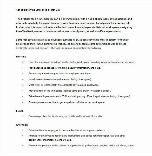 Employee Training Schedule Template Inspirational 10 orientation Schedule Templates & Samples Doc Pdf