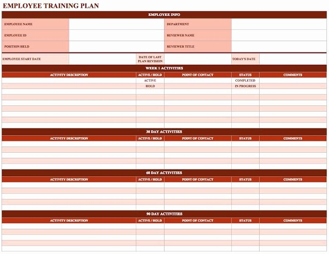 Employee Training Schedule Template Lovely New Employee Training Schedule Template