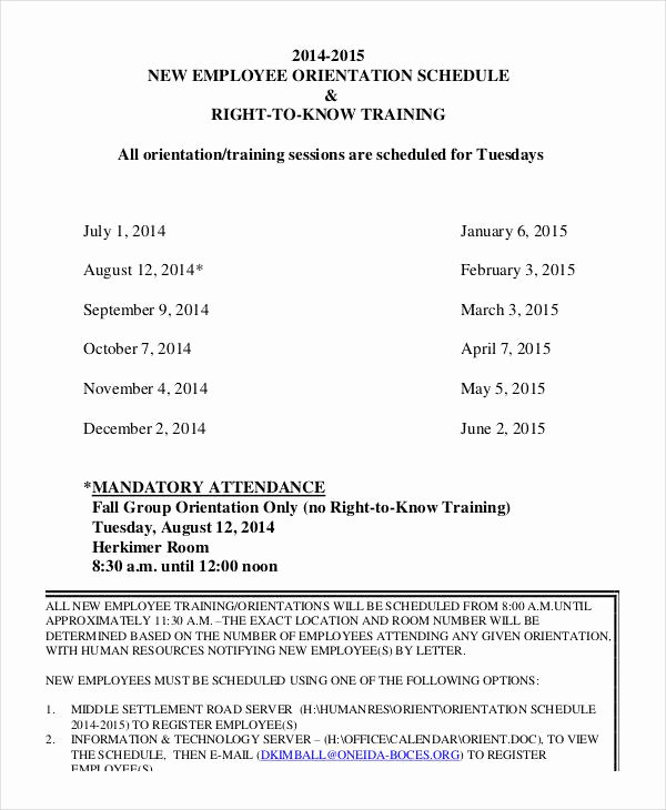 Employee Training Schedule Template New Employee Training Schedule Template 15 Free Word Pdf