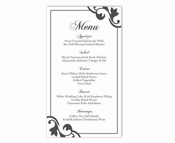 Encore Menu Template Unique Wedding Menu Template Diy Menu Card Template Editable Text