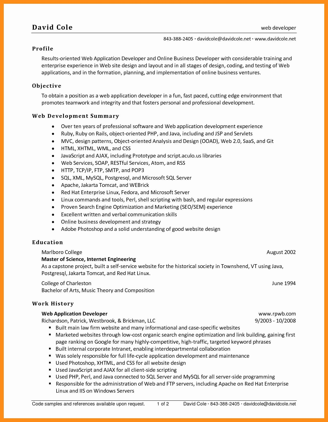 Entry Level Web Developer Resume Examples Unique 9 10 Entry Level Net Developer Resume