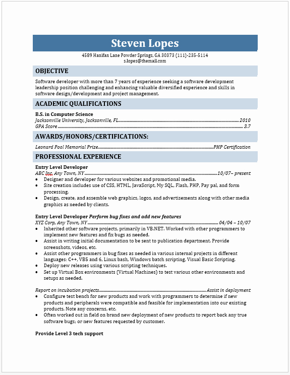 Entry Level Web Developer Resume Examples Unique Entry Level Web Developer Resume the Resume Template Site