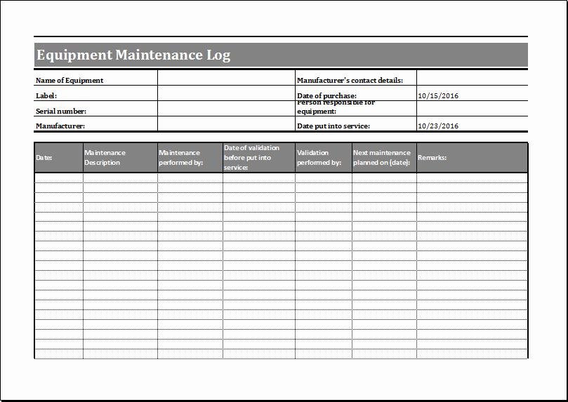 equipment maintenance schedule template excel 1913