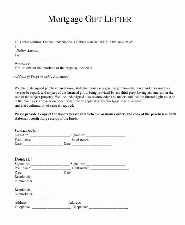 Equity Letter Template Lovely Gift Letter for Mortgage