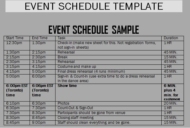 Event Itinerary Template Best Of event Schedule Templates Word Excel Samples