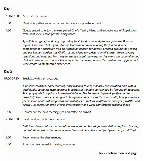 Event Itinerary Template Elegant Sample event Itinerary Template 9 Dcouments Download In