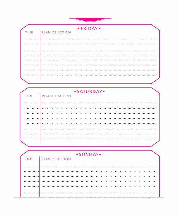 Event Itinerary Template Elegant Weekend Itinerary Template 6 Free Pdf Documents