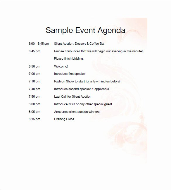 Event Itinerary Template Fresh 10 event Agenda Templates Free Sample Example format