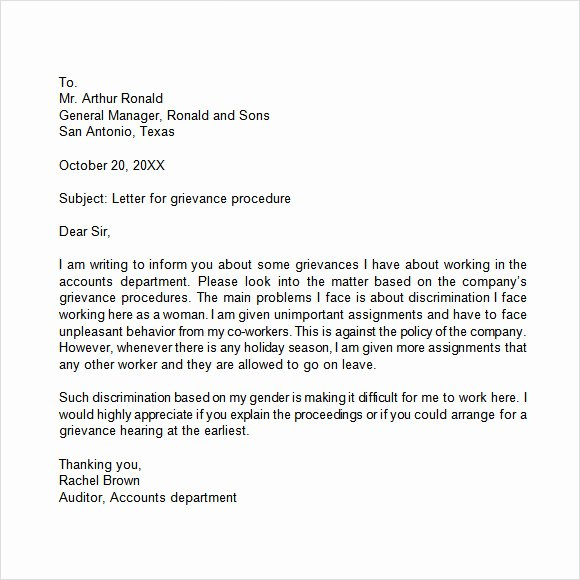 sample grievance letter