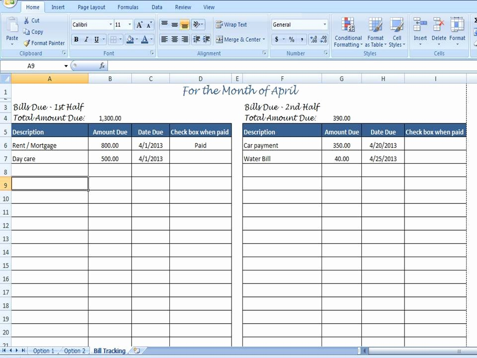 monthly bill organizer bill tracker