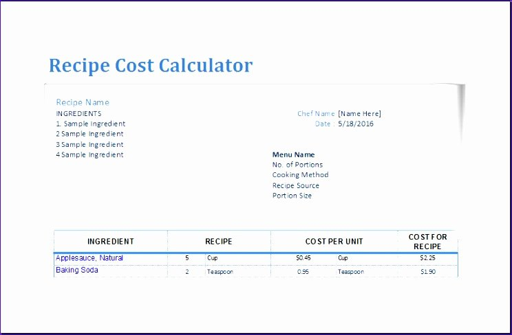 recipe cost calculator o0866