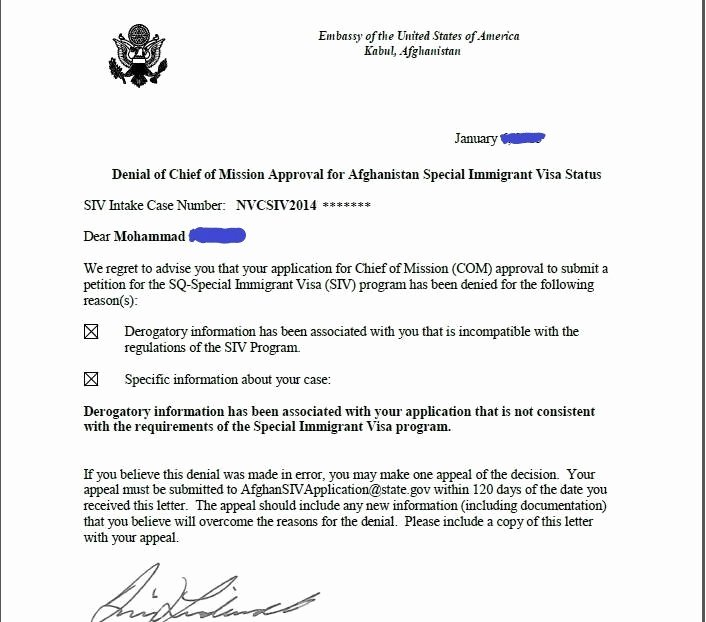 Failed Background Check Letter Beautiful Afghan Siv Appeal Help