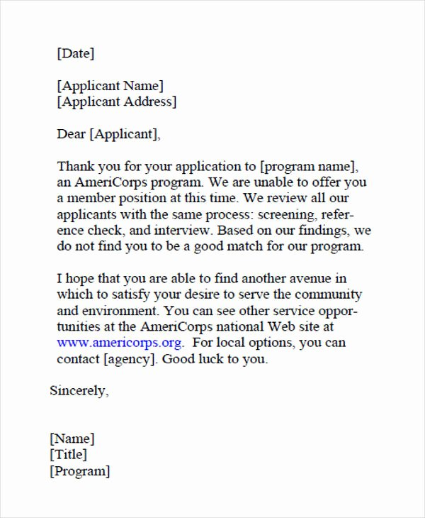 Failed Background Check Letter Luxury 9 Job Application Rejection Letters Templates for the