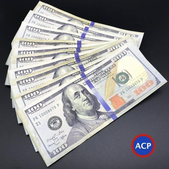 aged 10x 100 dollar bills 1000 dollars