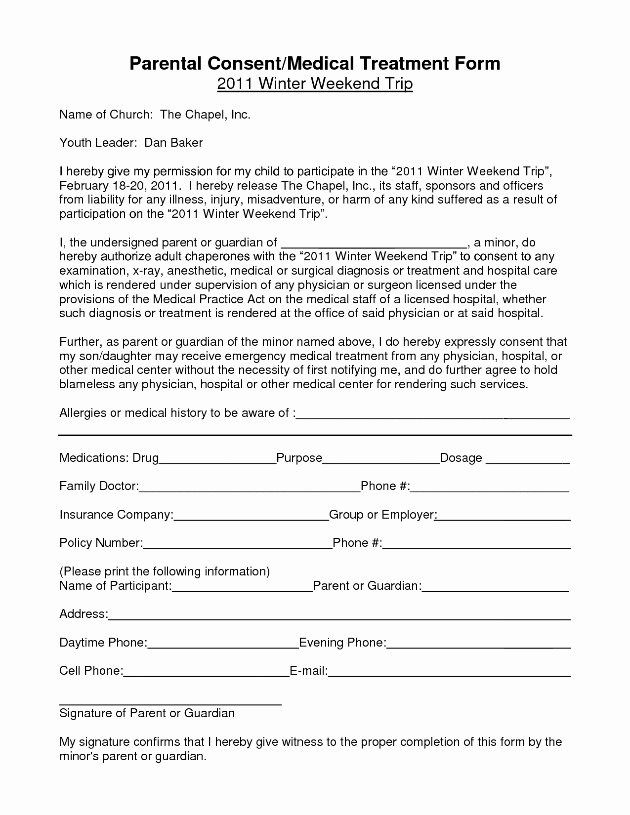 Fake Field Trip form Beautiful Notarized Medical Consent form for Minor