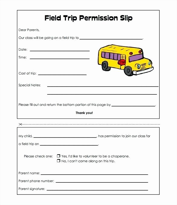 Fake Field Trip form Beautiful Permission Slips Fake for School – Rightarrow Template