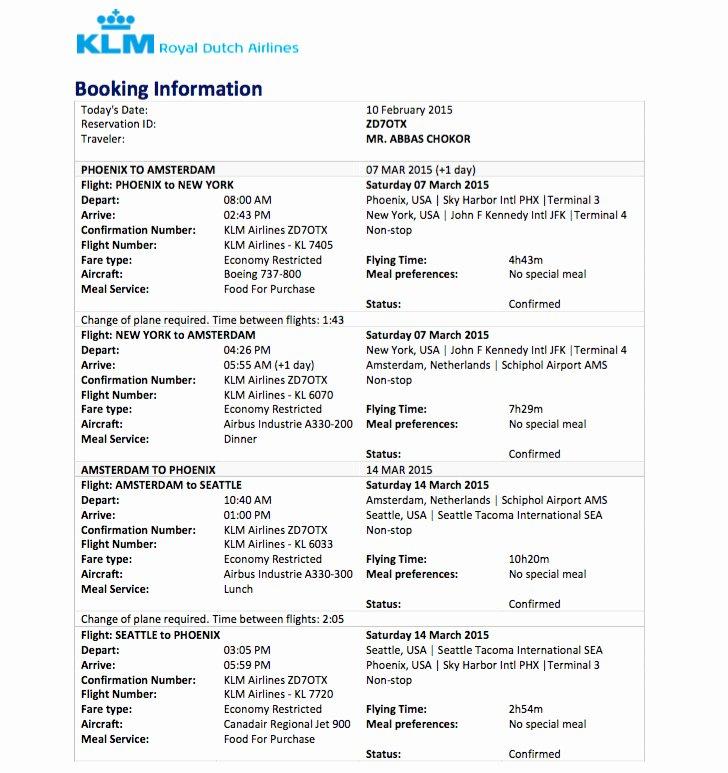 sample flight reservation flight itinerary visa application