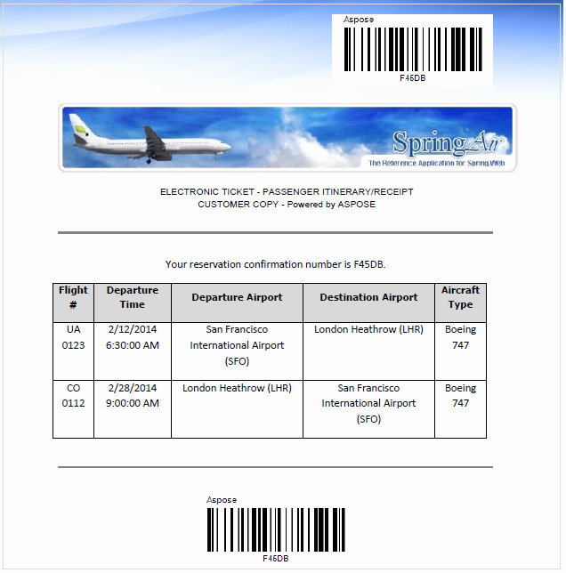 Fake Flight Itinerary Template Elegant aspose for Spring Net