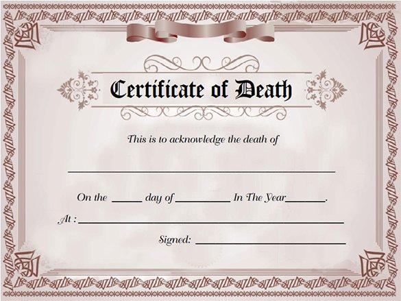 Fake Obituary Maker Beautiful 8 Death Certificate Templates Psd Ai Illustrator Word