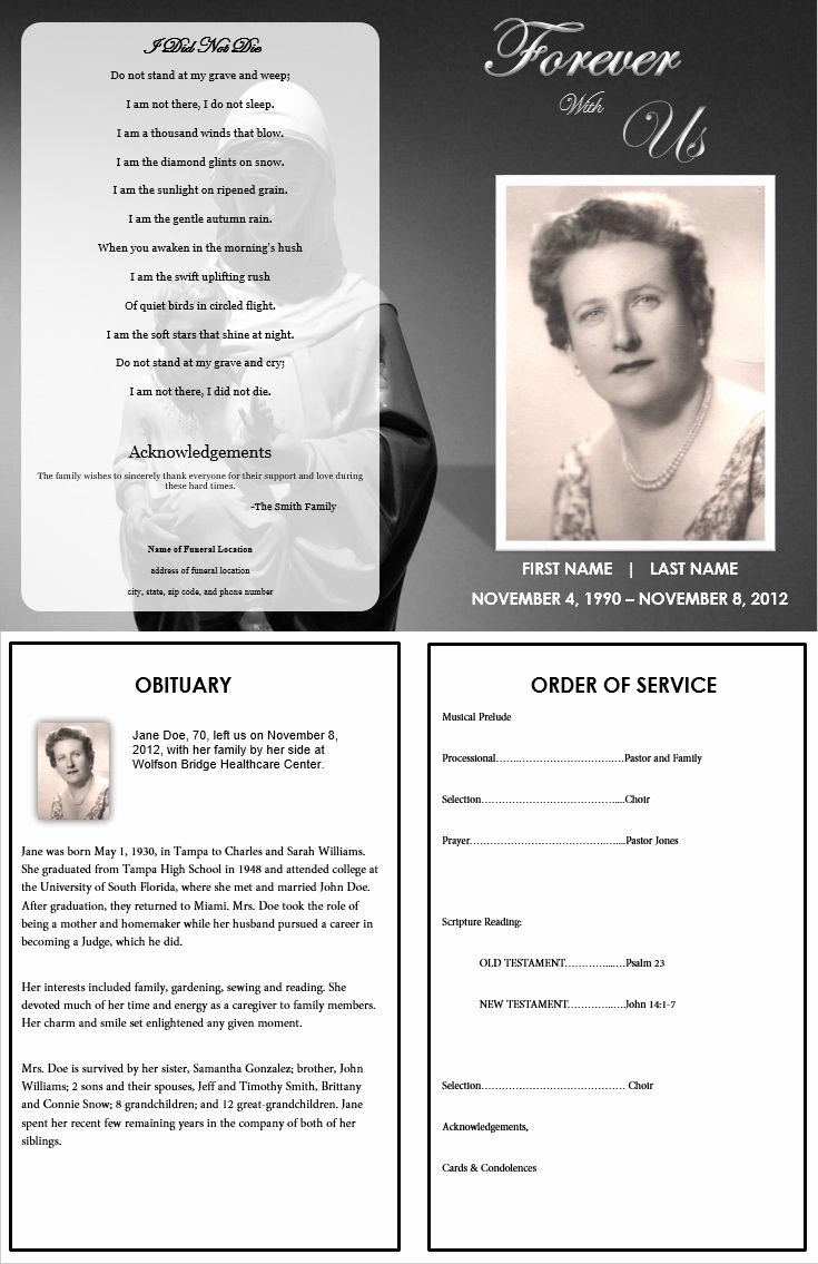 Fake Obituary Maker Inspirational 1000 Images About Printable Funeral Program Templates On