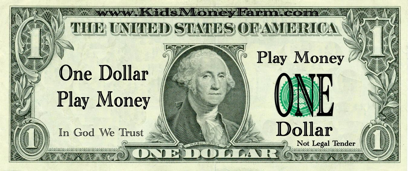 Fake Printable Money Lovely 1 Dollar Bills Fake Money Printables