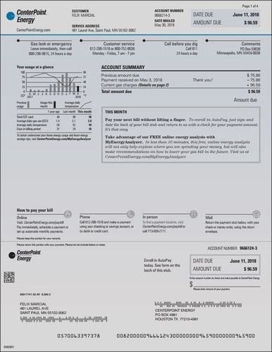 Fake Utility Bill Template Unique Centerpoint Provider Energy Electric Houston Texas