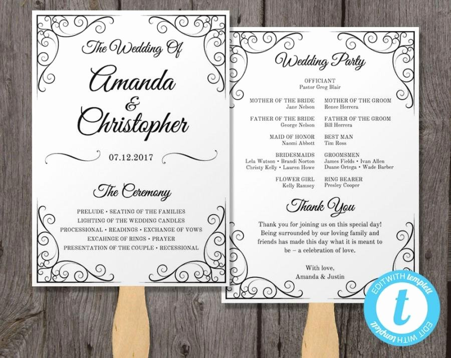Fan Wedding Programs Templates Elegant Vintage Wedding Program Fan Template Fan Wedding Program