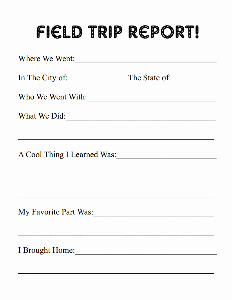 erie canal field trip free printable report