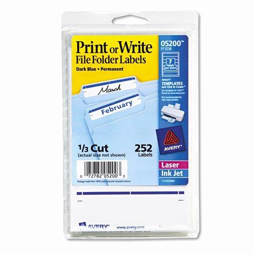 Print or Write File Folder Labels 1116 x 3 716 WhiteDark Blue Bar 252Pack AVE
